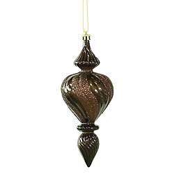 7 Inch Chocolate Candy with Glitter Swirl Finial Christmas Ornament 3 per Set