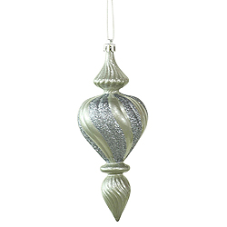7 Inch Pewter Candy with Glitter Swirl Finial Christmas Ornament 3 per Set