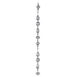 6 Foot Pewter Shiny Glitter Drop Ornament Garland