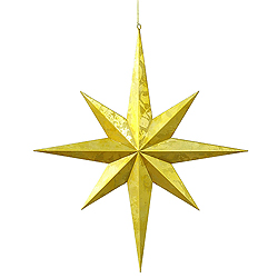 Jumbo 23.5 Inch Gold Foil Candy Finish Eight Point Star Christmas Ornament