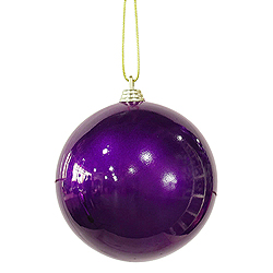 4 Inch Purple Candy Finish Round Ornaments - Box Of 16