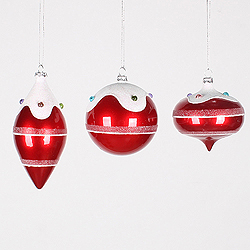 Red Candy Jewel 3 Assorted Christmas Ornaments Shatterproof