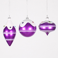 Purple Candy Jewel 3 Assorted Christmas Ornaments Shatterproof