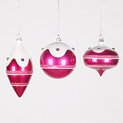 Cerise Pink Candy 3 Jewel Assorted Christmas Ornaments Shatterproof