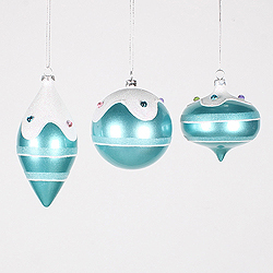 3 Inch To 5 Inch Candy Teal Jewel Ornament Box of 3