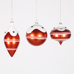 Orange Candy Jewel 3 Assorted Christmas Ornaments Shatterproof