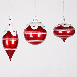 4 Inch To 7 Inch Candy Red Jewel Ornament 3 per Set