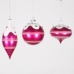 4 Inch To 7 Inch Candy Cerise Jewel Ornament 3 per Set