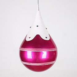 7 Inch Candy Cerise Snow Jewel Teardrop Ornament