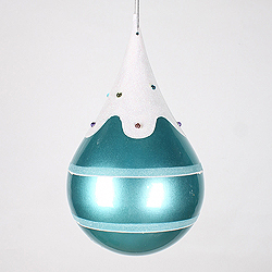 7 Inch Candy Teal Snow Jewel Teardrop Ornament