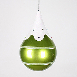 7 Inch Candy Lime Snow Jewel Teardrop Ornament
