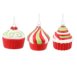 3 Inch Red Cup Cakes Assortment 3 per Set