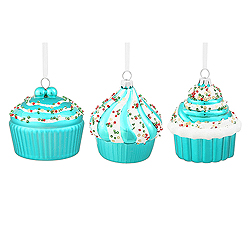 3 Inch Teal Cup Cakes Assortment 3 per Set