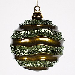 6 Inch Olive Glitter Wave Round Christmas Ball Ornament