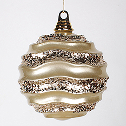 6 Inch Champagne Glitter Wave Round Christmas Ball Ornament