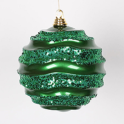 8 Inch Green Glitter Wave Round Christmas Ball Ornament