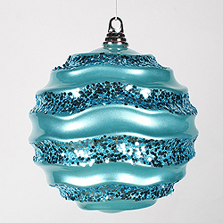 8 Inch Teal Glitter Wave Round Christmas Ball Ornament