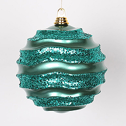 8 Inch Emerald Glitter Wave Round Christmas Ball Ornament