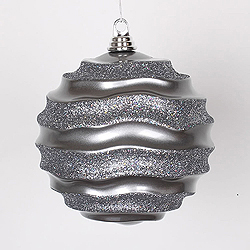 8 Inch Pewter Glitter Wave Round Christmas Ball Ornament