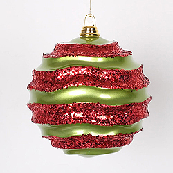 8 Inch Lime And Red Glitter Wave Round Christmas Ball Ornament