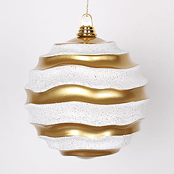 8 Inch Gold And Silver Glitter Wave Round Christmas Ball Ornament