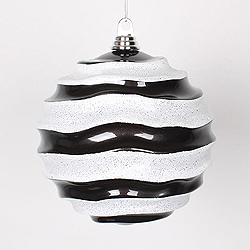 8 Inch Black And White Glitter Wave Round Christmas Ball Ornament