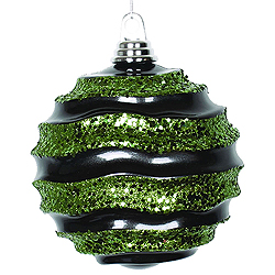 8 Inch Black And Lime Glitter Wave Round Christmas Ball Ornament