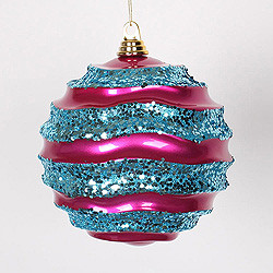 8 Inch Cerise And Turquoise Glitter Wave Round Christmas Ball Ornament