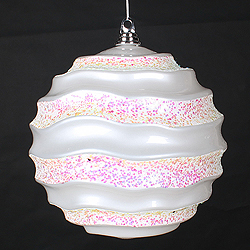 10 Inch White Glitter Wave Round Christmas Ball Ornament