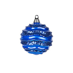 18 Inch Blue Glitter Wave Round Christmas Ball Ornament