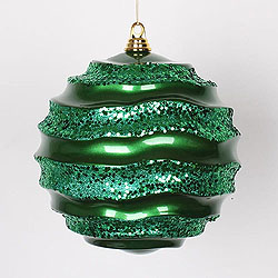 10 Inch Green Glitter Wave Round Christmas Ball Ornament