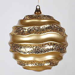 10 Inch Gold Candy Glitter Wave Round Ornament