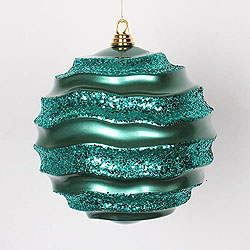 10 Inch Emerald Glitter Wave Round Christmas Ball Ornament