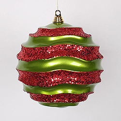 10 Inch Lime And Red Glitter Wave Round Christmas Ball Ornament