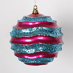 10 Inch Cerise And Turquoise Glitter Wave Round Christmas Ball Ornament