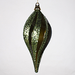12 Inch Olive Candy Glitter Swirl Drop Ornament