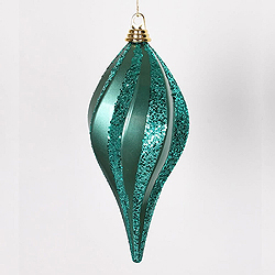 12 Inch Emerald Candy Glitter Swirl Drop Ornament