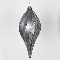 12 Inch Pewter Candy Glitter Swirl Drop Ornament