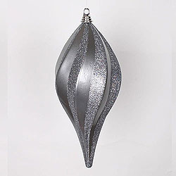 16 Inch Pewter Candy Glitter Swirl Drop Ornament
