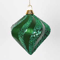 6 Inch Green Candy Glitter Swirl Diamond Christmas Ornament