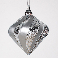6 Inch Silver Candy Glitter Swirl Diamond Christmas Ornament