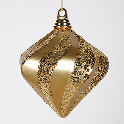 6 Inch Gold Candy Glitter Swirl Diamond Christmas Ornament