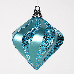 6 Inch Teal Candy Glitter Swirl Diamond Christmas Ornament