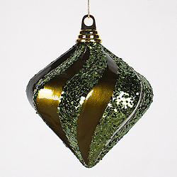 6 Inch Olive Candy Glitter Swirl Diamond Christmas Ornament