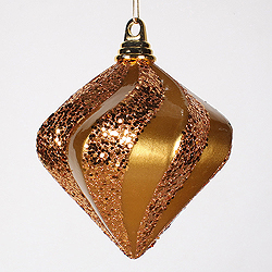 6 Inch Antique Gold Candy Glitter Swirl Diamond Christmas Ornament