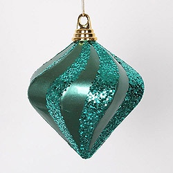 6 Inch Emerald Candy Glitter Swirl Diamond Christmas Ornament