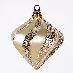 6 Inch Champagne Candy Glitter Swirl Diamond Christmas Ornament