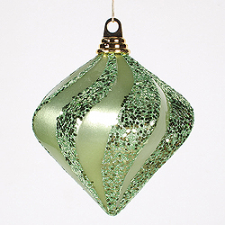 6 Inch Celadon Candy Glitter Swirl Diamond Christmas Ornament