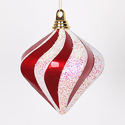 6 Inch Red And White Candy Glitter Swirl Diamond Christmas Ornament