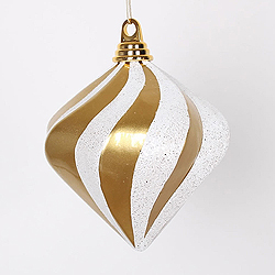 6 Inch Gold And Silver Candy Glitter Swirl Diamond Christmas Ornament